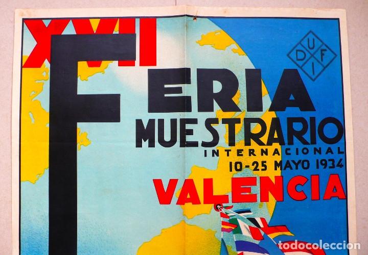 Carteles Feria: VALENCIA. GRAN CARTEL FERIA MUESTRARIO INTERNACIONAL . AÑO 1934. REPÚBLICA. - Foto 2 - 178003399