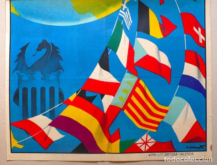 Carteles Feria: VALENCIA. GRAN CARTEL FERIA MUESTRARIO INTERNACIONAL . AÑO 1934. REPÚBLICA. - Foto 3 - 178003399