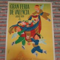 Carteles Feria: GRAN FERIA DE VALENCIA.JULIO 1951.-C78. Lote 178050758
