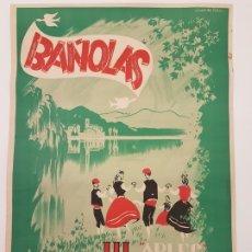 Carteles Feria: CARTEL SARDANAS BANYOLES 1955, (DIBUJO JUAN DE PALAU), SERIGRAFIA. Lote 178092894