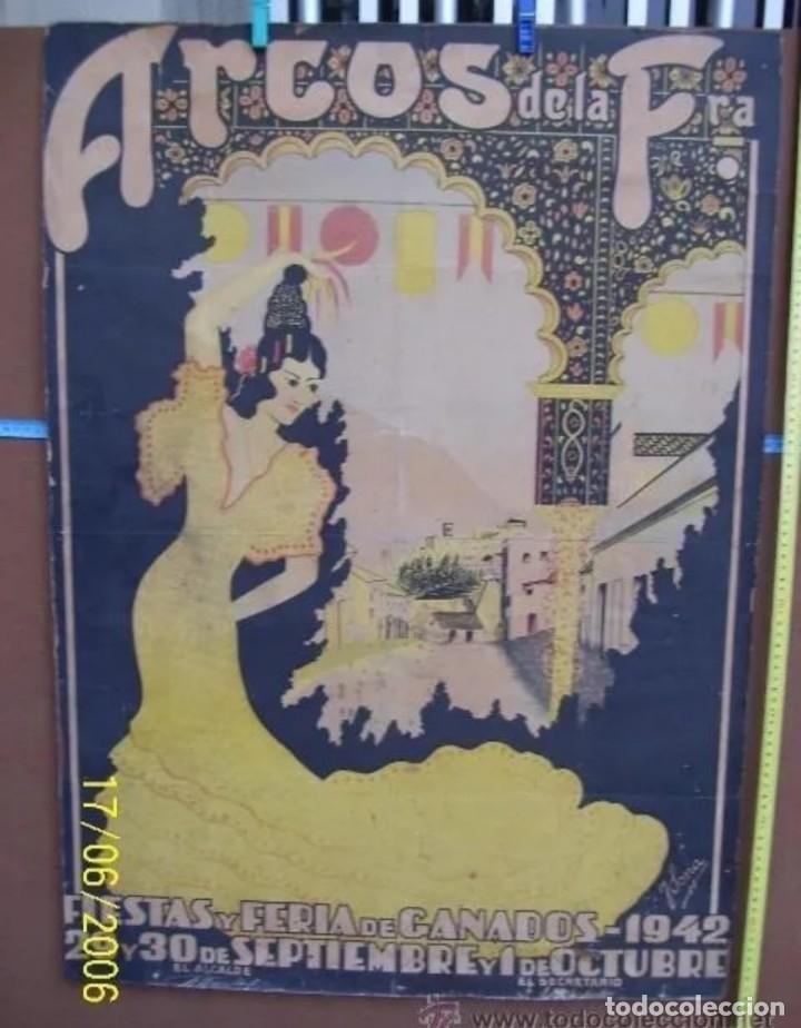 CARTEL ANTIGUO DE ARCOS DE LA FRONTERA (Coleccionismo - Carteles Gran Formato - Carteles Ferias, Fiestas y Festejos)