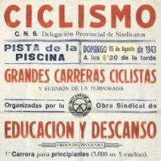 Carteles Feria: CARTEL. CICLISMO. DELEGACION PROVINCIAL DE SINDICATOS. GRANDES CARRERAS CICLISTAS. CADIZ, 1943. . Lote 179221008