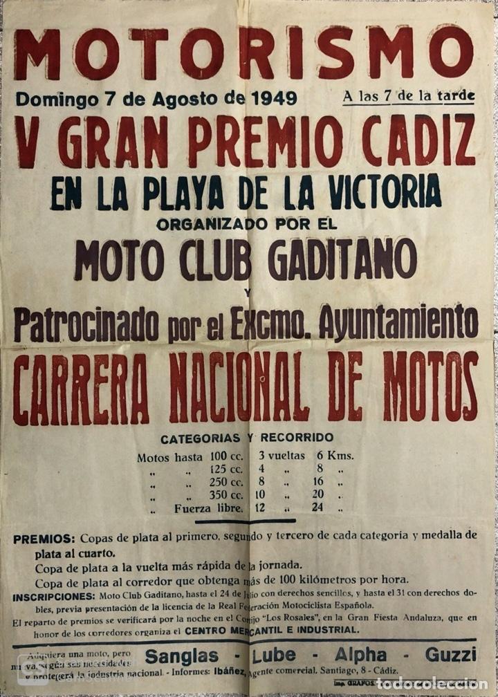 CARTEL. MOTORISMO. MOTO CLUB GADITANO. CARRERA NACIONAL DE MOTOS. CADIZ, 1949. (Coleccionismo - Carteles Gran Formato - Carteles Ferias, Fiestas y Festejos)