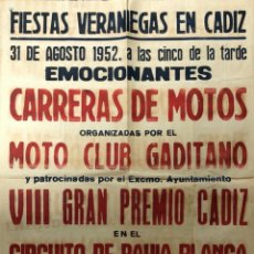 Carteles Feria: CARTEL. CARRERAS DE MOTOS. MOTO CLUB GADITANO. CIRCUITO DE BAHIA BLANCA. CADIZ, 1952.. Lote 179221632