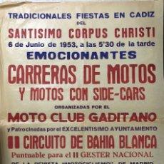 Carteles Feria: CARTEL. EMOCIONANTES CARRERAS DE MOTOS. MOTO CLUB GADITANO.II CIRCUITO DE BAHIA BLANCA. CADIZ, 1953.. Lote 179221881