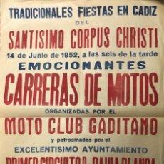 Carteles Feria: CARTEL. CARRERAS DE MOTOS. MOTO CLUB GADITANO. PRIMER CIRCUITO DE BAHIA BLANCA. CADIZ, 1952.. Lote 179222410