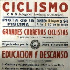 Carteles Feria: CARTEL. CICLISMO. DELEGACION PROVINCIAL DE SINDICATOS. GRANDES CARRERAS CICLISTAS. CADIZ, 1943. . Lote 179222573