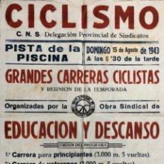 Carteles Feria: CARTEL. CICLISMO. DELEGACION PROVINCIAL DE SINDICATOS. GRANDES CARRERAS CICLISTAS. CADIZ, 1943. . Lote 179222645