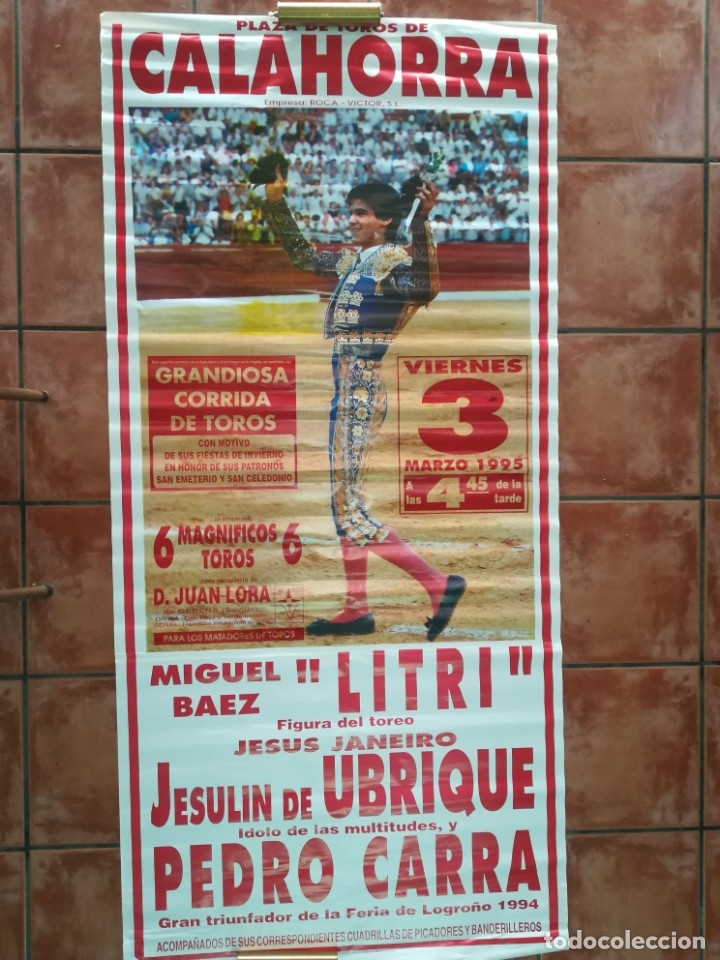 GRAN CARTEL DE TOROS AÑO 1995 , 190×90 CM (Coleccionismo - Carteles Gran Formato - Carteles Ferias, Fiestas y Festejos)
