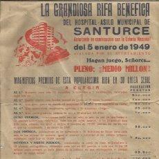 Carteles Feria: SANTURCE RIFA BENEFICA 1949. Lote 180127518