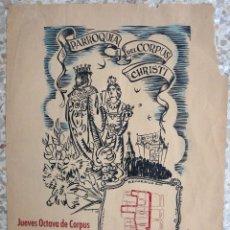 Carteles Feria: CARTEL PARROQUIA DEL CORPUS CHRITI , JUNIO 1953 , BARCELONA , ORIGINAL . Lote 182506346