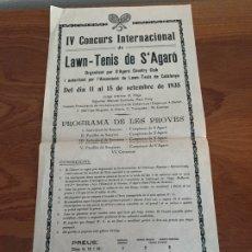 Carteles Feria: S´ AGARÓ GIRONA IV CONCURS INTERNACIONAL LAWN TENIS 1935. Lote 182798155