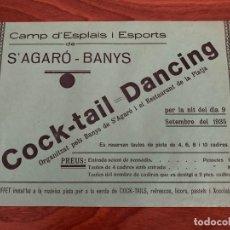 Carteles Feria: S´ AGARÓ GIRONA CARTEL ANUNCIO COCK-TAIL DANCING 1935. Lote 182799376