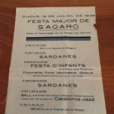 Carteles Feria: S´ AGARÓ GIRONA CARTEL ANUNCIO FESTA MAJOR 1936. Lote 182799851