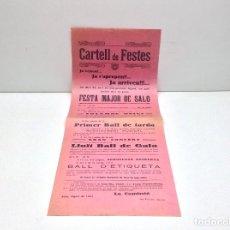 Carteles Feria: RARO Y ANTIGUO CARTELL DE FESTES - FESTA MAJOR DE SALO - AÑO 1927 - IMPRENTA RUBIRALTA MANRESA . Lote 182982645