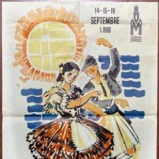 Carteles Feria: I FESTIVAL INTERNATIONAL DU FOLKLORE MEDITERRANEO. MURCIA, 1968. GRAFICAS BELKROM.. Lote 183907167