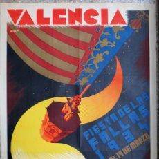 Carteles Feria: CARTEL PUBLICIDAD FALLAS DE VALENCIA 1934 LITOGRAFIA RAGA 70 X 100 CMS. , ORIGINAL , PF. Lote 184125412