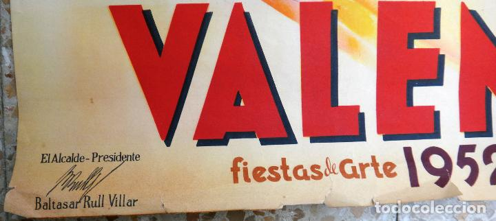 Carteles Feria: CARTEL PUBLICIDAD FALLAS DE VALENCIA 1952 LITOGRAFIA EYELO 70 X 100 CMS. , ORIGINAL , PF - Foto 2 - 184126113