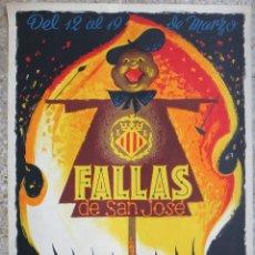 Carteles Feria: CARTEL PUBLICIDAD FALLAS DE VALENCIA 1964 LITOGRAFIA RAGA 70 X 100 CMS. EN ALEMAN , ORIGINAL , PF. Lote 184126405