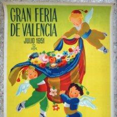 Carteles Feria: CARTEL PUBLICIDAD FERIA JULIO DE VALENCIA 1951 LITOGRAFIA CALANDIN 70 X 100 CMS. ORIGINAL , PF. Lote 184127075