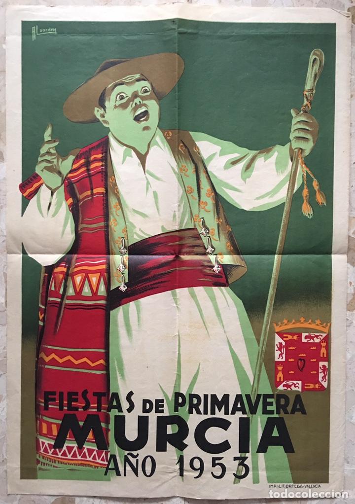 CARTEL FIESTAS DE PRIMAVERA MURCIA 1953 (Coleccionismo - Carteles Gran Formato - Carteles Ferias, Fiestas y Festejos)