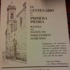 Carteles Feria: IV CENTENARIO DE LA PRIMERA PIEDRA IGLESIA DEL INST. PSIQUIÁTRICO FEMENINO. CAIXA D'ESTALVIS DE CAT. Lote 185772946