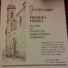 Carteles Feria: IV CENTENARIO DE LA PRIMERA PIEDRA IGLESIA DEL INST. PSIQUIÁTRICO FEMENINO. CAIXA D'ESTALVIS DE CAT. Lote 185773032