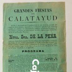 Carteles Feria: GRANDES FIESTAS EN CALATAYUD (1889) . Lote 187304930