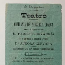Carteles Feria: CARTEL TEATRO DE ZARAGOZA (1889) . Lote 187305240