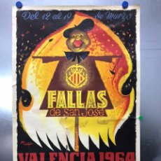 Carteles Feria: VALENCIA CARTEL DE FALLAS DE SAN JOSE - AÑO 1964 - LITOGRAFIA - ILUSTRADOR: RAGA. Lote 187917422