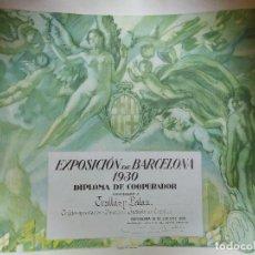 Carteles Feria: 1930 EXPOSICION BARCELONA TRULLAS Y PALAU TEXTIL. TARRASA. TERRASSA. FIRMA CONDE DE GÜELL. LABARTA. Lote 188833942
