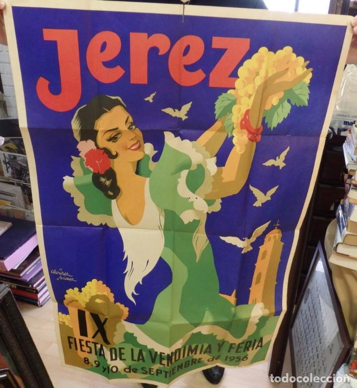 JEREZ DE LA FRONTERA, FIESTAS DE LA VENDIMIA 1956, ILUSTRADOR ALVAREZ GAMEZ,100% ORIGINAL. LITOGRAF (Coleccionismo - Carteles Gran Formato - Carteles Ferias, Fiestas y Festejos)