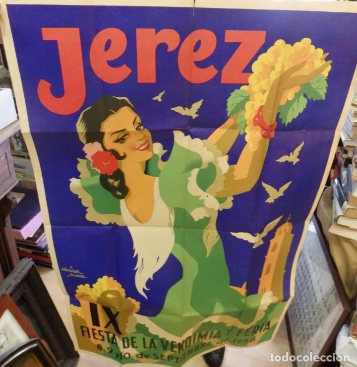 Carteles Feria: JEREZ DE LA FRONTERA, FIESTAS DE LA VENDIMIA 1956, ILUSTRADOR ALVAREZ GAMEZ,100% original. Litograf - Foto 2 - 189327612