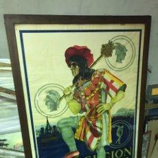 Carteles Feria: CARTEL POSTER GIGANTE UNICO PUBLICIDAD EXPOSICION INTERNACIONAL AYUNTAMIENTO BARCELONA 1929. ROJAS. Lote 189936922