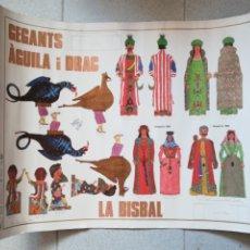 Carteles Feria: CARTEL GEGANTS ÀGUILA I DRAC LA BISBAL D'EMPORDÀ - NANS CAPGROSSOS - RETALLABLE RECORTABLE - 1987. Lote 190777306
