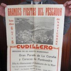 Carteles Feria: GRAN CARTEL FIESTAS DEL PESCADOR CUDILLERO ASTURIAS 1971 EL PRESI. Lote 191614383