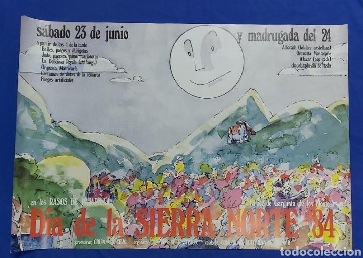 CARTEL DIA DE LA SIERRA NORTE 1984 MADRID EN LOS RASOS DE PAJARILLA (Coleccionismo - Carteles Gran Formato - Carteles Ferias, Fiestas y Festejos)
