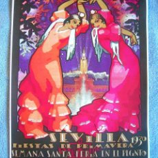 Affissi Fiera: CARTEL POSTER RETRO - SEVILLA - SEMANA SANTA - FERIA PRIMAVERA RECINTO EXPO IBEROAMERICANA. AÑO 1930. Lote 238016155