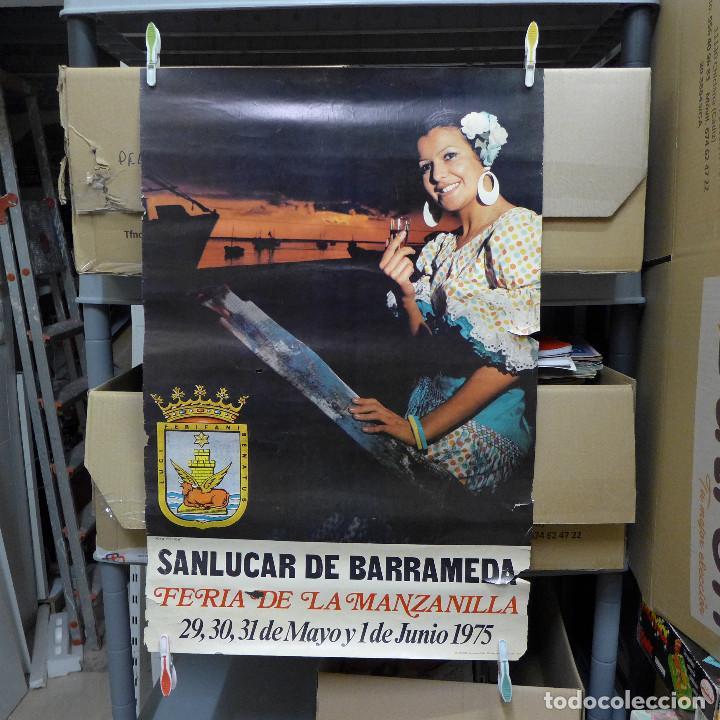 CARTEL DE LA FERIA DE LA MANZANILLA DE SANLUCAR 1975 (Coleccionismo - Carteles Gran Formato - Carteles Ferias, Fiestas y Festejos)