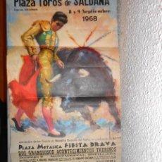 Carteles Feria: PLAZA DE TOROS DE SALDAÑA AÑO 1968. Lote 194580160