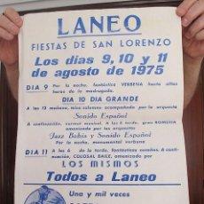 Carteles Feria: CARTEL FIESTAS LANEO ASTURIAS 1975 LOS MISMOS. Lote 194604808