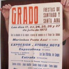 Carteles Feria: CARTEL FIESTAS SANTA ANA GRADO ASTURIAS 1975. Lote 194605038