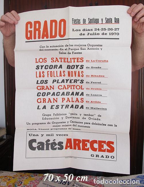 GRAN CARTEL FIESTAS DE SANTIAGO GRADO ASTURIAS 1970 LOS SATELITES (Coleccionismo - Carteles Gran Formato - Carteles Ferias, Fiestas y Festejos)
