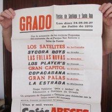 Carteles Feria: GRAN CARTEL FIESTAS DE SANTIAGO GRADO ASTURIAS 1970 LOS SATELITES. Lote 194605240