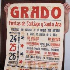 Carteles Feria: GRAN CARTEL FIESTAS DE SANTIAGO GRADO ASTURIAS 1973. Lote 194605402