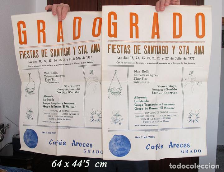 DOS CARTELES FIESTAS DE SANTIAGO GRADO ASTURIAS 1977 (Coleccionismo - Carteles Gran Formato - Carteles Ferias, Fiestas y Festejos)