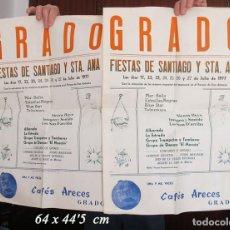 Carteles Feria: DOS CARTELES FIESTAS DE SANTIAGO GRADO ASTURIAS 1977. Lote 194605638
