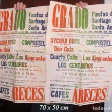 Carteles Feria: DOS CARTELES FIESTAS DE SANTA ANA GRADO ASTURIAS 1974. Lote 194605853
