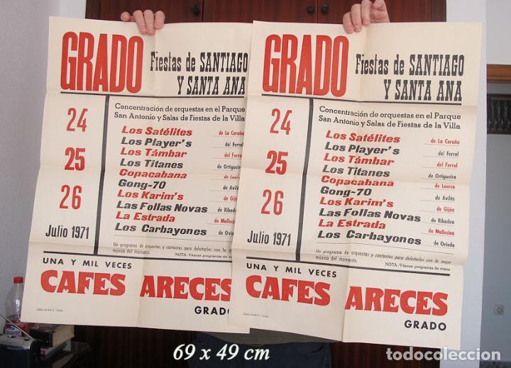 DOS CARTELES FIESTAS DE SANTIAGO GRADO ASTURIAS 1971 (Coleccionismo - Carteles Gran Formato - Carteles Ferias, Fiestas y Festejos)