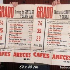 Carteles Feria: DOS CARTELES FIESTAS DE SANTIAGO GRADO ASTURIAS 1971. Lote 194605993